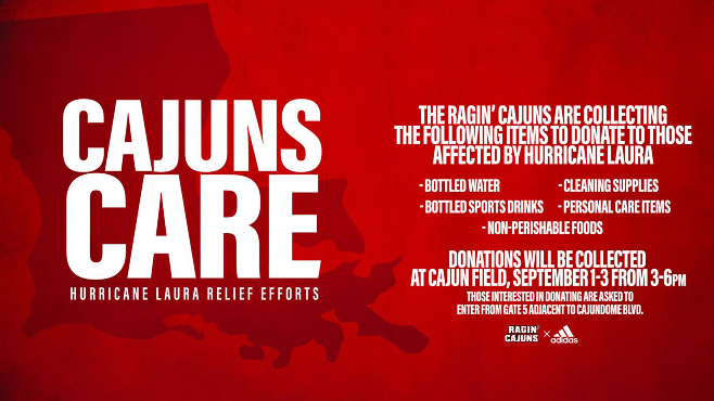 The Ragin' Cajuns are collecting supplies at Cajun Field for the Lake Charles area. The supply drive will take place  from Tuesday to Thursday this week From 3 to 6 p.m.